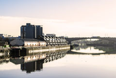 River Clyde in Glasgow in the morning light. View over river Clyde, Kingston bridge and Lancefield quay Stock Photography
