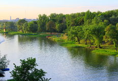 River Cna. Evening landscape on the river Price royalty free stock photography
