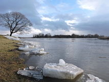 River  coast in winter Royalty Free Stock Images
