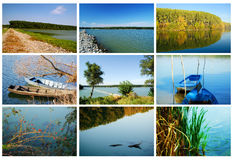 River coasts. Collage of various river coasts and details from the coasts Stock Photography