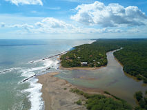 River connect to ocean. Aerial drone view on sunny day stock image