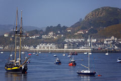River Conwy - North Wales - United Kingdom. View towards the town of Deganwy across the River Conwy from Conwy on the north Wales coast in the United Kingdom Royalty Free Stock Photo