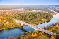River and countryside. River Neris and bridge in countryside from above. Lithuania near Nemencine Stock Image