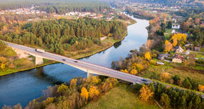 River and countryside. River Neris and bridge in countryside from above. Lithuania near Nemencine Royalty Free Stock Image