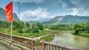 River Countryside Vietnam Red Flag stock photos