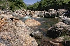 River course by Alardos ravine. Natural environment of Alardos ravine in Madrigal de la Vera, Vera county, Caceres, Spain Stock Photography