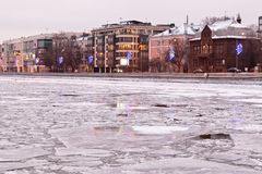 River covered with ice Stock Images