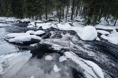 River covered with an ice and a snow Royalty Free Stock Images