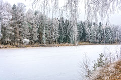 The river is covered with ice and snow. Royalty Free Stock Image