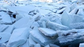 River covered with piles of ice smithereens royalty free stock photo