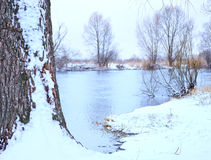 River covered with snow Royalty Free Stock Photography