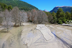 The river is  covered with volcanic ash Stock Images