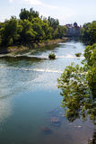 The River Crisul Repede flowing through Oradea Royalty Free Stock Images