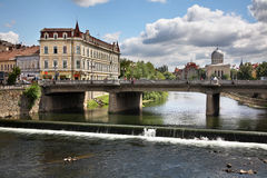 River Crisul Repede in Oradea. Romania Royalty Free Stock Photography