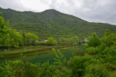 River Crnojevic in Montenegro. The river of Crnojevic near the coast of Skadar lake with green waters, boats and plants on its bank in the rain in Montenegro Stock Photo