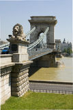 River Crossing. Chain Bridge in Budapest, Hungary Stock Image