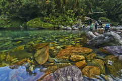 River crossing. One of the river crossings along the trail of Mount Halcon in the Philippines Royalty Free Stock Images