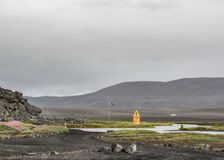 River crossing sign in Highlands of Iceland, Europe stock photography