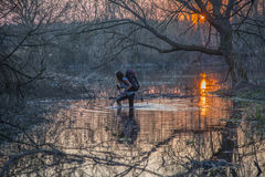 River crossing  by wading Stock Photography