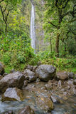 River crossing at Waimoku Falls. With the waterfall seen through a clearing in the forest at the end of the Pipiwai Trail royalty free stock photography