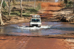 River crossing with 4WD. Crossing a river on the Gibb River Road with a 4WD in the Kimberley royalty free stock photos