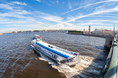River cruise boats on the Neva river in summer sunny day Stock Images