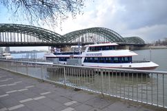 River cruise in city life!!. Beautiful Cologne city Stock Images