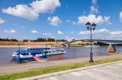 River cruise passenger catamaran at the moored on Volkhov river Stock Photo