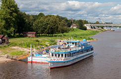 River cruise passenger catamaran at the moored on Volkhov river Royalty Free Stock Photography