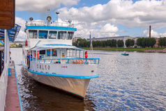 River cruise passenger catamaran at the moored on Volkhov river Royalty Free Stock Photo