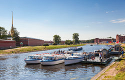 River cruise passenger catamarans moored on Neva river near the Royalty Free Stock Photography