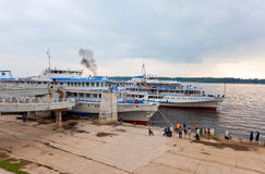 River cruise passenger ships at the moored on Volga river Stock Photos