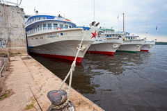 River cruise passenger ships at the moored on Volga river Stock Photo