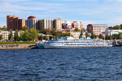 River cruise passenger ships at the moored on Volga river  in Samara, Russia Royalty Free Stock Image