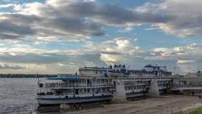 River cruise passenger ships on moored on the Volga river in Samara, Russia. The Volga is the longest river in Europe stock footage