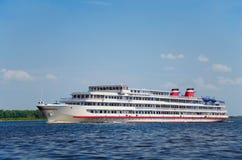 River cruise ship. Four-deck river cruise ship on Volga river Stock Images