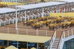 River Cruise Ship. Long Terrace Deck at River Cruise Ship Stock Image