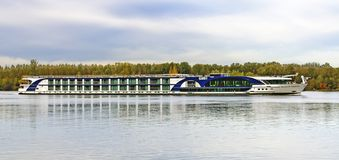 River cruise ship. The river cruise ship Monarch Empress on the river Danube near the city of Tulln, Austria Royalty Free Stock Images