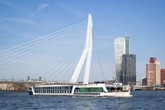 River cruise ship MONARCH QUEEN in Rotterdam, Netherlands. The MONARCH QUEEN is a first class river cruise vessel chartered exclusively by Gate 1 Travel and was Royalty Free Stock Photos