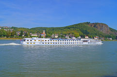 River cruise ship on the Rhine. In Germany Royalty Free Stock Photography
