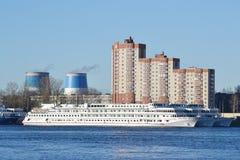 River cruise ship on the river Neva. ST.PETERSBURG, RUSSIA - MAY 1, 2013: River cruise ship on the river Neva in St.Petersburg, Russia Royalty Free Stock Photography