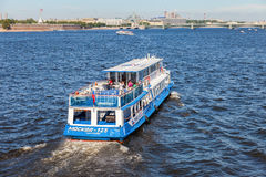 River cruise ship sailing on the river Neva in St. Petersburg, R Royalty Free Stock Photography