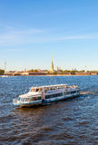 River cruise ship sailing on the river Neva in St. Petersburg, R. ST.PETERSBURG, RUSSIA - AUGUST 5, 2015: River cruise ship sailing on the river Neva in summer Stock Photo