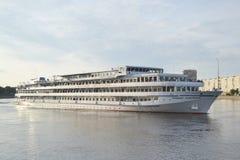 River cruise ship sailing on the river Neva. Stock Photos