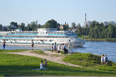 River cruise ship sailing on the river Neva. Stock Images