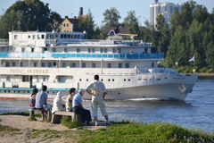 River cruise ship sailing on the river Neva. Stock Photo