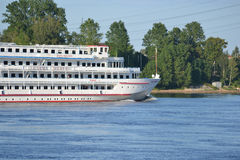 River cruise ship sailing on the river Neva. Royalty Free Stock Images