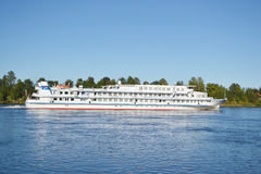 River cruise ship sailing on the river Neva. Royalty Free Stock Photo