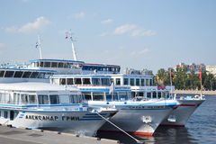 River cruise ship. ST.PETERSBURG, RUSSIA - JULY 29, 2012: River cruise ship near the embankment in St. Petersburg by day Royalty Free Stock Images