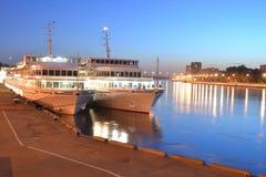 River cruise ships at night. Stock Photo
